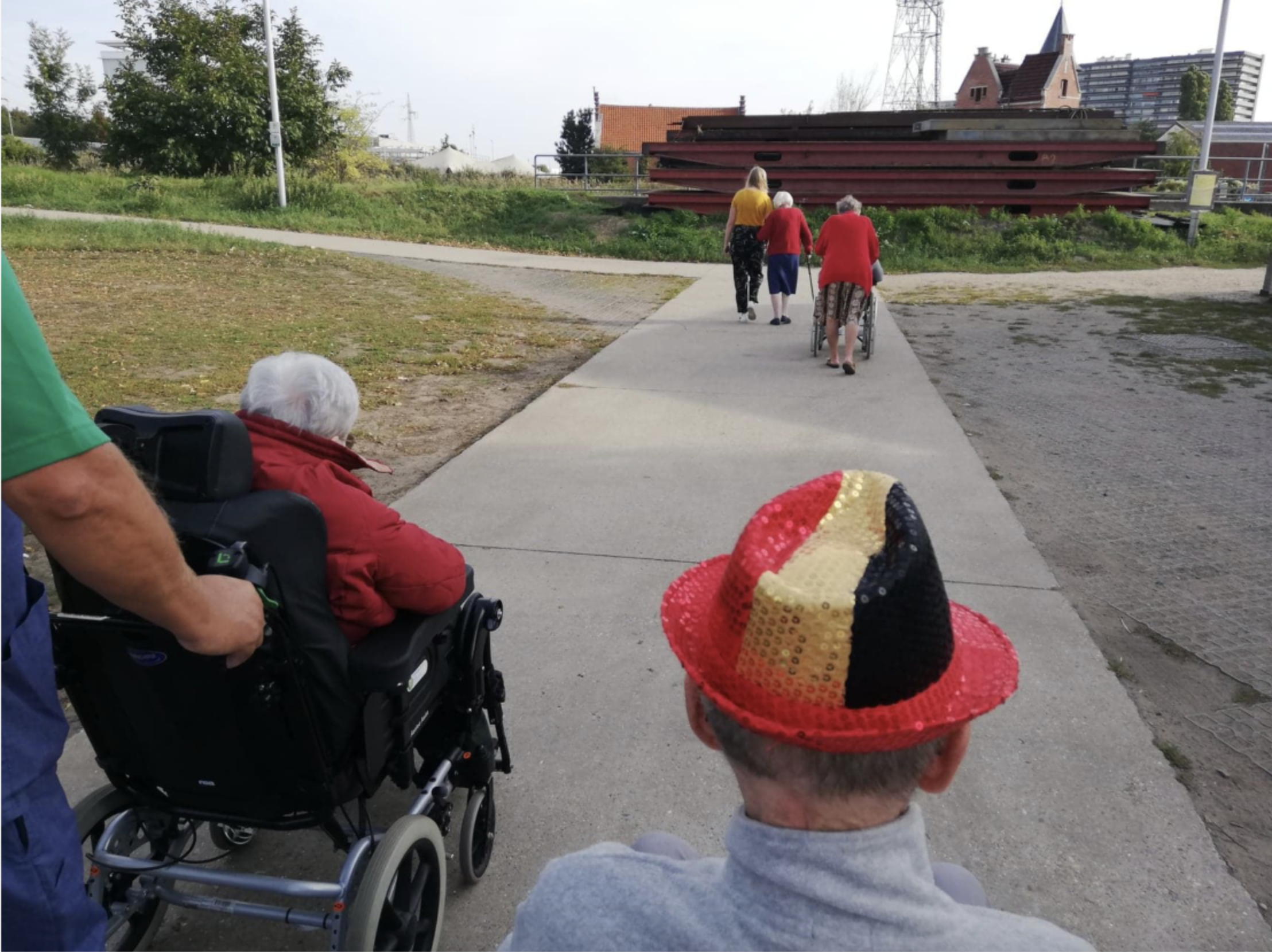 a walk with the residents with dementia